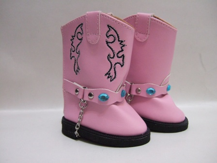 Pink Cowboy Boot With Chain