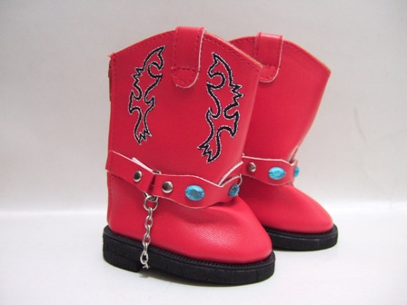 Red Cowboy Boot With Chain