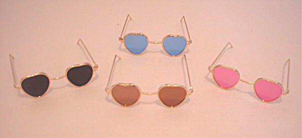 Blue Glass Heart Frame Sunglasses