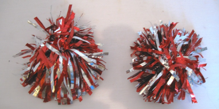 2 Red And silver Pom Poms